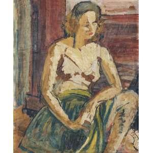 SALGADO, Zélia (1904 – 2009) - Modelo<br>acrílica s/ papel colado em chapa de madeira, ass. inf. dir.<br>Procedência: Letícia Moraes<br>48 x 39 cm