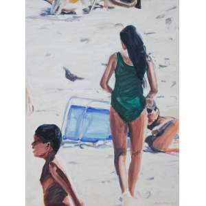 NICHOLSON, John (1951) - A Day at the Beach<br>óleo s/ tela, ass., dat. 2014 inf. dir., ass., dat. 2014 e tit. no verso<br>80 x 60 cm