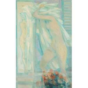 BIANCO, Enrico (1918 –2013) - Nu<br>óleo s/ chapa de madeira industrializada, ass., dat. 1990 inf. dir., ass. e dat. 1990 no verso<br>69,5 x 44,5 cm