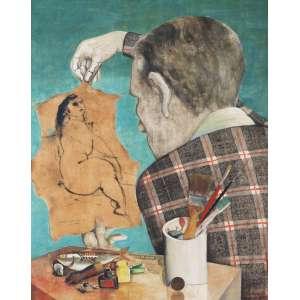 REZENDE, Newton (1912 – 1994) - O Desenho e Eu<br>óleo s/ chapa de madeira industrializada, ass., dat. 1971, sit. Colubandê inf. esq. e com etiqueta do artista ass., tit. e sit. a obra no verso<br>57 x 46 cm