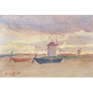 GARCIA BENTO, Antônio (1897 – 1929) - Mancha<br>óleo s/ tela colada em cartão, ass., dat. 1927 inf. esq., dat. 1927, tit. e sit. Portugal (Póvoa de Varzim) no verso<br>13 x 19 cm