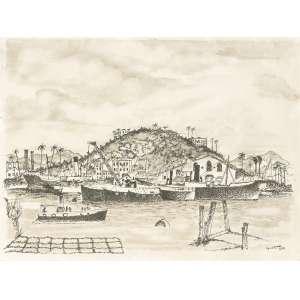 GUIGNARD, Alberto da Veiga (1896 – 1962) - Paisagem<br>grafite s/ papel, ass. e dat. 1938 inf. dir.<br>27,5 x 36,5 cm