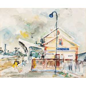 KAMINAGAI, Tadashi (1899 – 1982) - Estação de Trem<br>aquarela s/ papel, ass. inf. esq.<br>Procedência: Galeria Realidade<br>37,3 x 45,7 cm