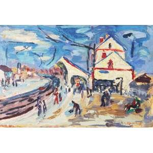 KAMINAGAI, Tadashi (1899 – 1982) - Estação de Trem<br>óleo s/ papel colado em chapa de madeira industrializada, ass. inf. dir.<br>31,7 x 47 cm