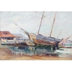 PARREIRAS, Dakir (1894 – 1967) - Barcos<br>óleo s/ tela, ass., dat. 1924 e sit. Rio inf. esq.<br>38 x 55,5 cm