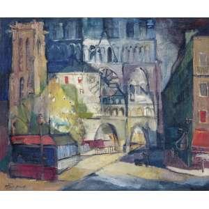 SCHAEFFER, Frank (1917 – 2008) - Paisagem Europeia<br>óleo s/ tela, ass. e dat. 1950 inf. esq.<br>50 x 60 cm