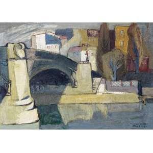 SCHAEFFER, Frank (1917 – 2008) - Paisagem<br>óleo s/ tela, ass., dat. III/1949 inf. dir. e com resquícios de ass. no verso<br>39 x 54,4 cm