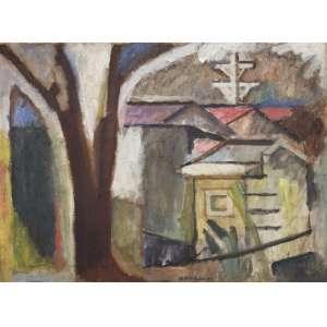 """BONADEI, Aldo (1906 – 1974) - Telhados do Ibirapuera<br>óleo s/ tela, ass., dat. 1947 centro inf. e com etiqueta da exposição """"Homenagem a Bonadei"""", realizada no Museu de Arte Moderna de São Paulo em 1978, no chassi<br>Participações: <br>- Exposição """"Homenagem a Bonadei"""", realizada no Museu de Arte Moderna de São Paulo em 1978; reproduzida no catálogo da referida mostra<br>- Mostra do redescobrimento do Brasil+500, na Bienal de São Paulo, 2000; reproduzida na p. 148 do catálogo sob o módulo """"Arte Moderna""""<br>60 x 81 cm"""