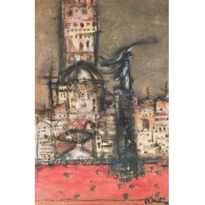 DAREL Valença Lins (1924 – 2017) - Da série Cidades<br>digigrafia e óleo s/ tela, ass., dat. 2008 inf. dir., ass., dat. 2008 e com descrição técnica no verso<br>100 x 64 cm