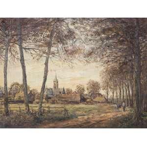 VAN DIJK, Wim (1915 – 1990) - Elspeet no Outono – Holanda<br>óleo s/ tela, ass. inf. dir., ass., tit., sit. e com símbolos característicos do artista no verso<br>(c. 1960)<br>46 x 61 cm