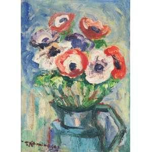 KAMINAGAI, Tadashi (1899 – 1982) - Vaso com Anêmonas<br>óleo s/ cartão, ass. inf. esq.<br>(década de 1980)<br>Procedência: Galeria Realidade<br>33 x 24 cm