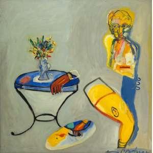 Fernando Pacheco- O amante invisível ou a caixinha rosa – 149 x 148 cm – OST – Ass.CID e Dat.1999