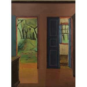 Ivan Marquetti - Interior, sala e paisagem pela porta – 73 x 60 cm – OST – Ass.CID e Dat.1966