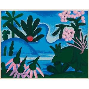 Tarsila do Amaral - Lago – 36 x 54 cm (medida total) 31,5 x 40,5 cm (medida impressa) – Serigrafia – Tiragem 97/250 – Assinado meio inferior e datada de 15/12/1972