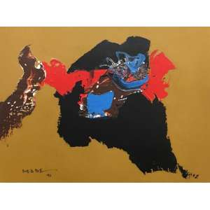 Manabu Mabe - Composição – 30 x 40 cm – Acrilica sobre tela – Ass.CID e Dat.1991 – Acompanha certificado de autenticidade emitido pelo Instituto Manabu Mabe