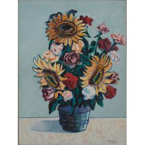 Inima de Paula - Girassóis e flores do campo – Homenagem a Van Gogh – 88 x 62 cm – Ass.CID e Década de 60
