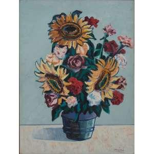 Inimá de Paula - Girassóis – Homenagem a Van Gogh – 82 x 62 cm – OSM – Ass.CID e Década de 60 – Circa de 1967 -