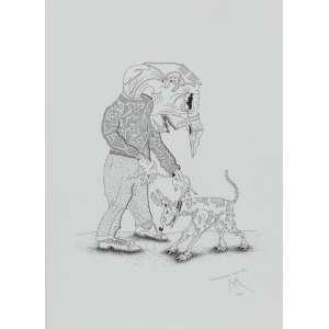 Roberto Magalhães - Personagem com Cão – 35 x 25 cm – Nanquim – Ass. CID e Dat. 2000