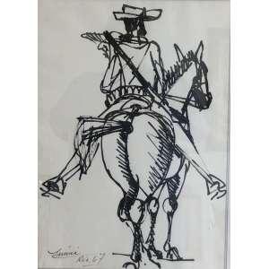 Inima de Paula - Lampião – 45 x 32 cm – Nanquim sobre papel – Ass.CIE e Dat.1967