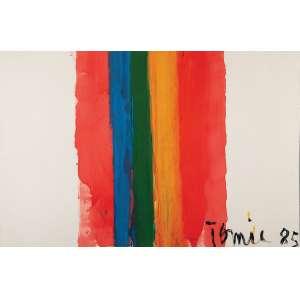 """Tomie Ohtake """"Diretas Já"""" Óleo s/ tela, 100 x 160 cm, ass. inferior direito, dat. 1985. Registrado no Instituto Tomie Ohtake"""