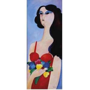 Aldemir Martins - Mulher com flores – 85 x 35 cm – OST – Ass.CID e Dat.1987