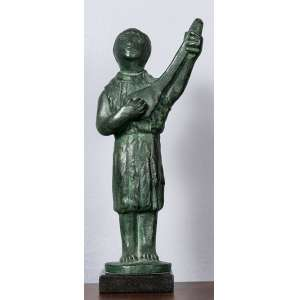 """BRUNO GIORGI - """"Homem com violão"""" 34 x 9 x 9 cm - Escultura em bronze – Ass.Base–Proveniente da Galeria Dom Quixote"""