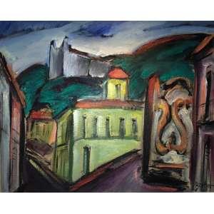 """CARLOS BRACHER - """"Casa dos Contos, Chafariz e Igreja São Francisco – Ouro Preto/MG""""- 81 x 100 cm – OST – Ass.CID e Dat.2020"""
