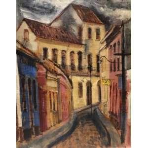 """EMERIC MARCIER - """"Ouro Preto"""" - 80 x 64 cm - OST – Ass.CID e Dat.1956"""