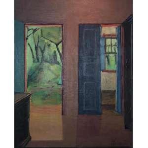 """IVAN MARQUETTI - """"Interior, sala e paisagem""""- 73 x 60 cm – OST – Ass.CID e Dat.27/10/1966"""