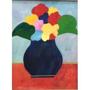 """ALDEMIR MARTINS - """"Flores – 40 x 30 cm – AST – Ass.CIE e Dat.2001 – Obra aprovada pelo Instituto Aldemir Martins"""