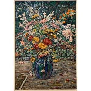 """WIM VAN DIJK - """"Flores num vaso em cima de pedras de São Thomé""""- 57 x 40 cm – OST – Ass.CID e Dat.1988"""