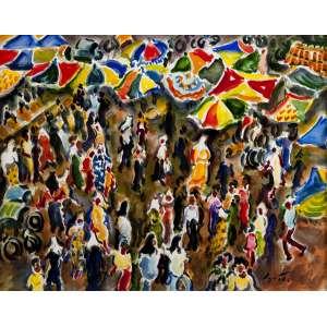 """SÉRGIO TELLES - """"Mercado na Malásia"""" – 31 x 40 cm – Aquarela – Ass.CID e Dat.2005"""