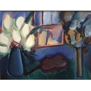 """CARLOS BRACHER - """"Violino, flores e janela""""- 89 x 116 cm – OST – Ass.CID e Dat.1995"""