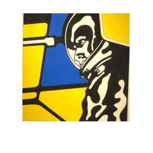 """CLAUDIO TOZZI - """"Astronauta"""" - 33 x 32 cm - Acrilica sobre papel - Ass. CID e Dat. 1970 - Esta obra foi projeto de gravura para a Kompas - Obra especial desse ícone da arte brasileira, que foi um dos precursores da Pop Art. Obras desta fase hoje pertencem as grandes coleções particulares e de Museus, do Brasil e do exterior. Uma grande oportunidade de adquirir uma obra prima. - Acompanha foto do artista com a obra e certificado de autenticidade"""