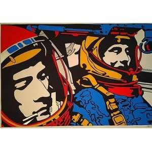 """CLAUDIO TOZZI - """"Astronautas""""- 40 x 60 cm – Serigrafia – Tiragem 16/16 – Ass.CID"""