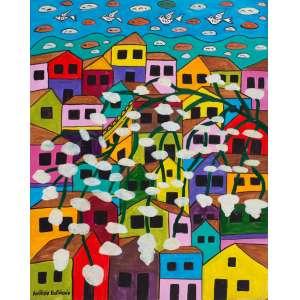 """ANTÔNIO EUSTÁQUIO - """"Casario com pássaros"""" – 50 x 40 cm – OSE – Ass. CIE e Dat. 2011"""