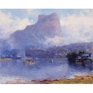 """MAURO FERREIRA - """"Saída dos pescadores – Barra/RJ"""" – 45 x 55 cm – OSMDF – Ass. CIE e Dat. 2013"""
