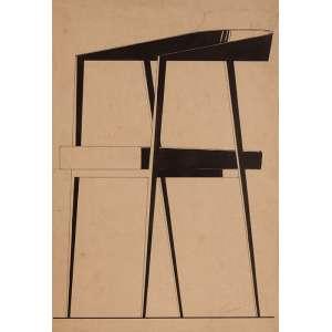 JOAQUIM TENREIRO - Estudo para cadeira – 44 x 30 cm – Nanquim sobre papel – Ass.CID