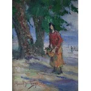 """Manoel Santiago - """"Hayde com flores"""" - 32 x 24 cm - OSE - Ass.CID e Década de 60"""