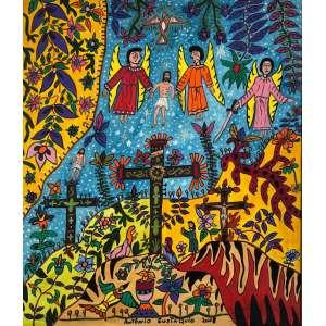 """ANTÔNIO EUSTAQUIO - """"Jesus sendo levado pelos anjos""""- 60 x 50 cm – OST – Ass.CID e Dat.2008"""