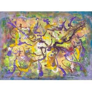 VÂNIA ZUACHERATTO - Abstração Lilás – 90 x 120 cm – AST – Ass. CID e Dat. 2000