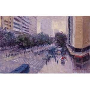 """MAURO FERREIRA - """"Rua da Bahia – Esquina da Avenida Afonso Pena""""– 25 x 39 cm – OSM – Ass. CID e Dat. 2013"""