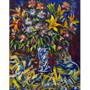 Sérgio Telles - Flores da primavera- 90 x 70 cm – Óleo sobre tela – Assinatura canto inferior direito e Data 1997