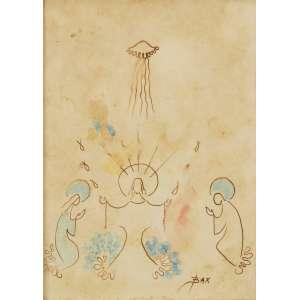 Bax - Anunciação- 22 x 16 cm – Aguada sobre papel – Assinatura canto inferior direito