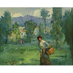 """Manoel Santiago - """"Família no campo"""" - 32 x 40 cm - Óleo sobre madeira - Assinatura canto inferior esquerdoe Data 1962"""
