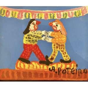 Antônio Poteiro - Palhaços na festa junina - 25 x 30 cm - Óleo sobre tela - Assinatura canto inferior direito e Data 2007