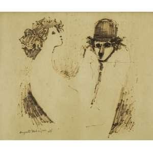 Augusto Rodrigues - Casal - 20 x 25 cm - Desenho a caneta pylot - Assinatura canto inferior esquerdo e Data 1971