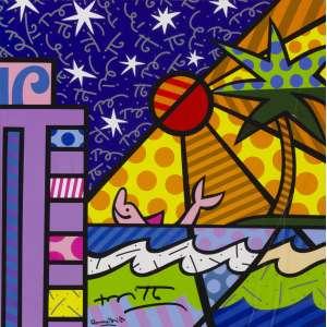 Romero Britto - Miami colorida - 27 x 27 cm - Reprodução assinada - Tiragem ilimitada