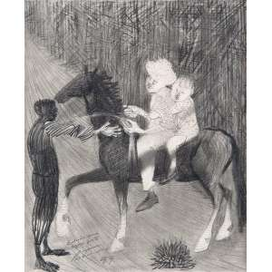 PORTINARI, Cândido - Meninos e Cavalo - desenho á grafite - 22 x 18 cm - a.c.i.e. 1959 - desenho original para estudo de água forte, que ilustrou o livro Menino de Engenho de José Lins do Rego. <br />Registrado no Projeto Portinari sob nº 1511 FCO [5847].