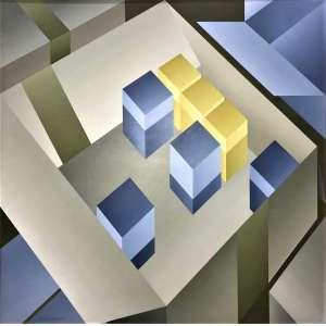 ITALO BIANCHI - Jogo de caixas - óleo sobre duratex - 110 x 110 cm - a.c.i.e. 1987